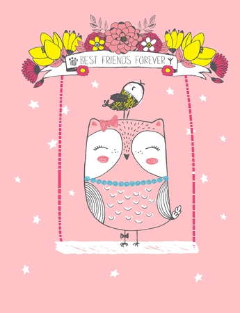 Cute vector illustration of hand drawn ow with her baby bird ride on a swing with flower wreath, lettering best friends forever, tape, stars, mother's day card, print for t shirt, valentine's day
