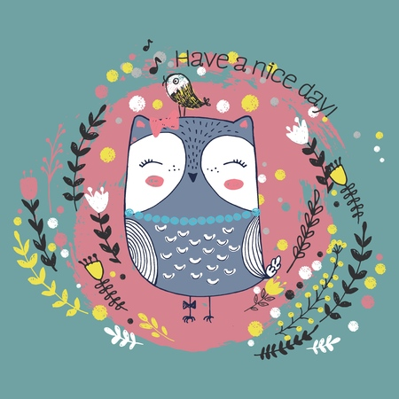 Vector illustration of cute sketch owl, bird, flowers, polka dot and inscription have a nice day, can be used as print for t shirt Ilustracja