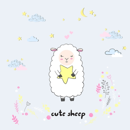 Vector cute cartoon walking sleeping sheep with clouds,stars, heart, hand drawn imitation, drawn with a tablet, fairytale, isolated Imagens - 126090297