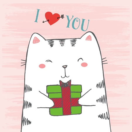 Vector illustration of hand drawn sketch cartoon white cat hugs gift on scratched grunge pink background peeking out from image corner with lettering I love you Ilustração