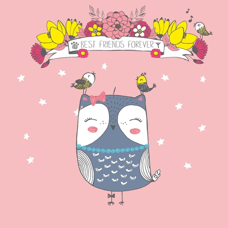 Vector illustration of cute sketch owl, bird, flowers, stars and inscription best friends forever, can be used as print for t shirt