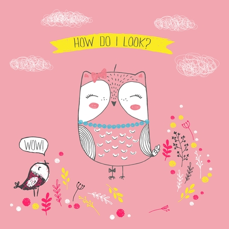 Vector illustration of cute sketch owl, bird, flowers, clouds and inscription how do i look, can be used as print for t shirt Imagens - 126064649