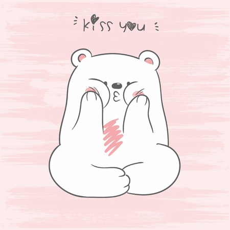Vector illustration of cute white North Pole bear sitting in a lotus position with letering kiss you on scratch background, hand drawn character playing the ape, cheek one's cheeks, air kiss