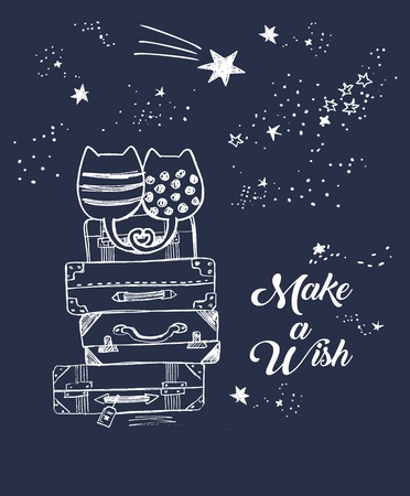 Vector cute illustration of hand drawn loving cats sitting on old suitcases and looking at night sky with falling stars, lettering make a wish, hand drawn with pen, stack of travel bags. fall in love Imagens - 126064656