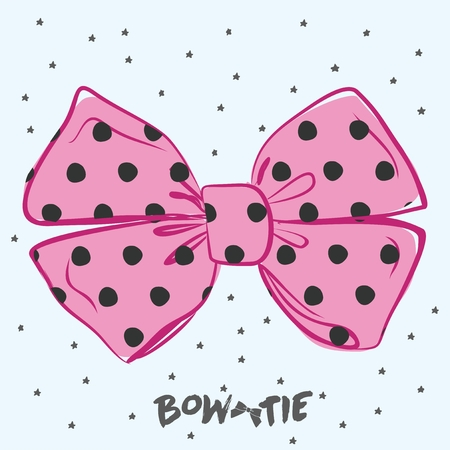 Vector perfect bow of pink fabric black dots pattern vector decoration for hair meme. Useful elements for your design Ilustração