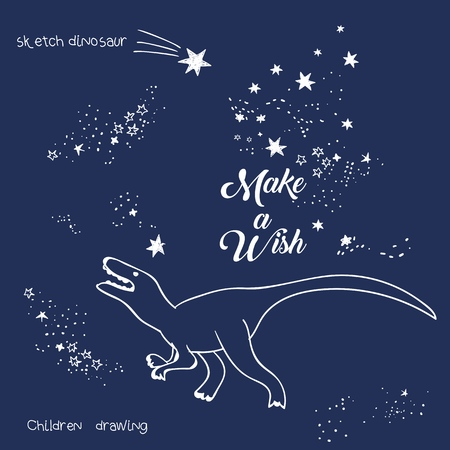 Vector illustration of magic dinosaur constellation, polygonal art, geometric design with hand drawn (with a tablet) stars, lettering make a wish, fashion print for t shirt with celestial star map