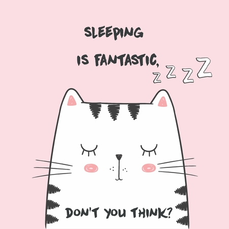 Cute Vector illustration with anime kawaii sleeping cat. With lettering sleeping is fantastic, dont you think. Fashion print for pajamas or t shirt. Good night Ilustração