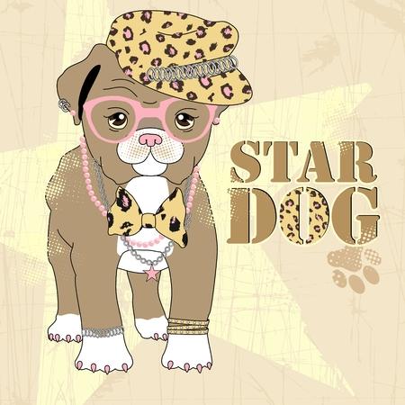 Vector Illustration of cartoon cute fashion dog Illusztráció