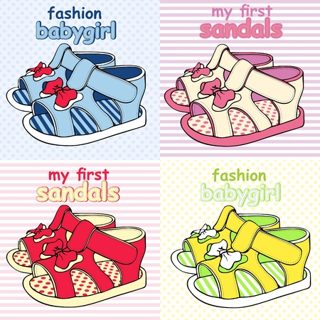 Vector illustration Colorful Childrens Sandals with Bows Vettoriali