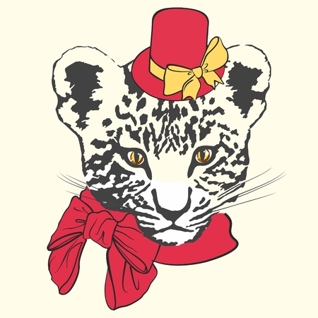 Vector illustration of fashion leopard with red hat, scarf and bows on white background Ilustração