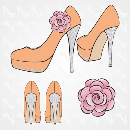 women's high-heeled shoes with decor in the form of crystals and big fabric rose