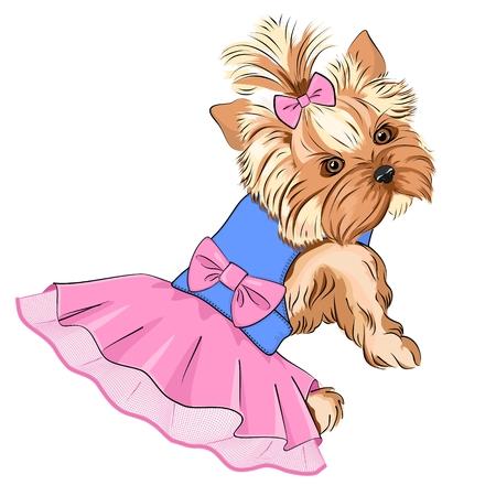 Ilustración vectorial de dibujos animados lindo perro de moda (pura raza Yorkshire Terrier - perro de bolsillo) con vestido esponjoso con falda de encaje y gran lazo rosa en la espalda y pequeño lazo en el pelo Ilustración de vector