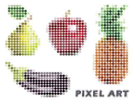Set of four objects on the theme of food with apple, pineapple, eggplant and pear. Vector illustration in the style of pixel art isolated on white background