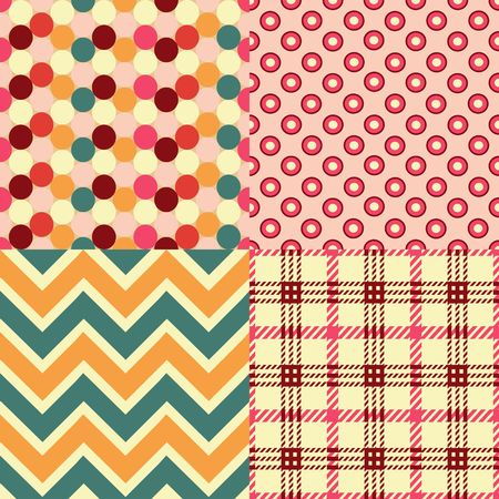 Vector Set of Four Seamless Retro Textures Imagens - 120432137
