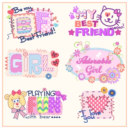 Set of funny vector prints for clothes for girls, woman or babies. Six cute little compositions