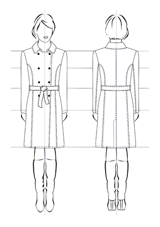 Vector illustrations of fashion womens raincoats in female figure. Front and back views. Technical drawing on white background.