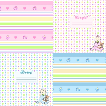 Set of cute seamless pattern for newborn boys and girls in blue and pink tones. Can be used to design cards, photo albums, cover notebook, paper or fabric.