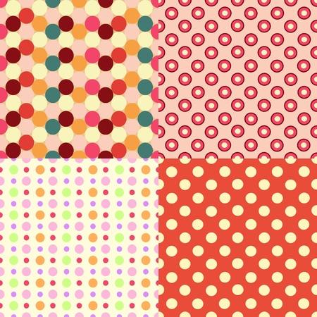 Vector illustration Set of Four Seamless Retro Textures