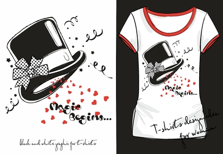 Vector illustration of trandy sketch womans shirt with black and white print magician hat decorated with a polka dot bow. t-shirt design idea