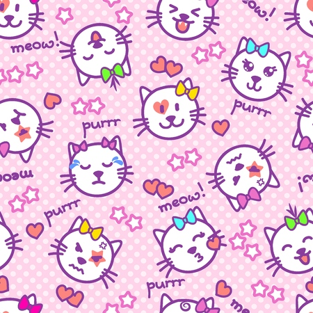 Vector seamless texture with cat faces, words, stars, hearts for baby girls. Beautiful sketch emoticons on a background with pink polka dots. Kittens with different emotions on their muzzles Imagens - 120432285