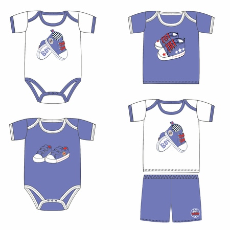 Set of fashion costumes for babies with prints with sport shoes. Trendy tracksuits for baby boy in blue and white colors. Collection of sportswear for newborn baby. Stylish idea for clothes line. Imagens - 120432347