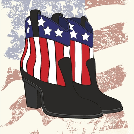 Vector illustration of pair of fashion cowboy leather boots for women with a picture of the U.S. flag.