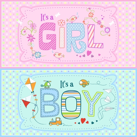 Baby shower - two cute cards for boy and girl with seamless texture with dots in the background. Can be used as print for clothes, cover design and others. Imagens - 120432350
