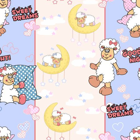 Seamless texture with funny cartoon lambs in blue and pink tones with polka dot hearts, white clouds, inscriptions good night and sweet dreams. Can be used as pattern for bedclothes.