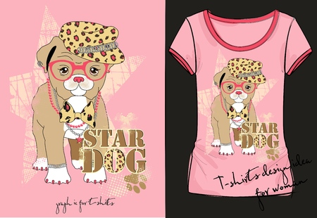Vector illustration of trendy sketch womans short sleeve shirt with stylish print with inscription, little fashion dog in a hat, with pink glasses, bow and jewelry in her neck. T-shirt design idea Ilustração