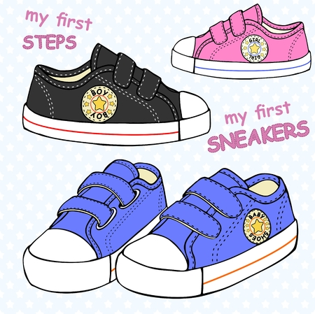 illustration of childrens cute sneakers without shoelace (classic design) with embroidery and inscription. Ilustração