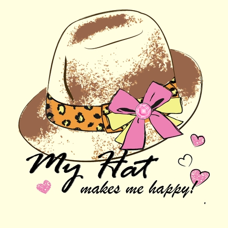 Vecor Illustration of fashion womens hat with leopard tape and pink bow