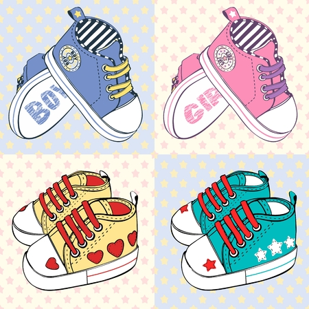 vector childrens sport shoes with stripesfor baby boy and baby girl Imagens - 120432384