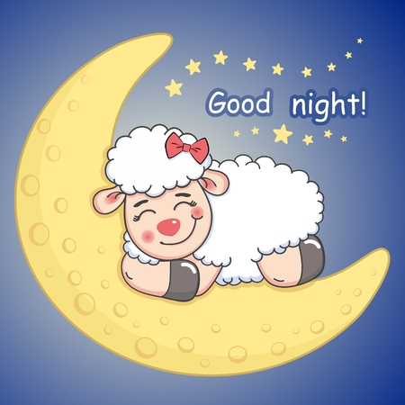 Vector illustration of lovely card with cartoon curly sleeping sheep lying on the half moon Ilustração