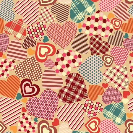 Vector illustration of Seamless Vintage  Texture with Hearts