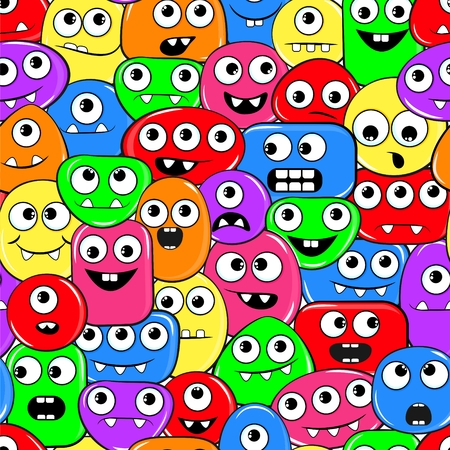 Seamless texture with funny motley monsters (only many faces with one, two or  three eyes without hands, foots and body)