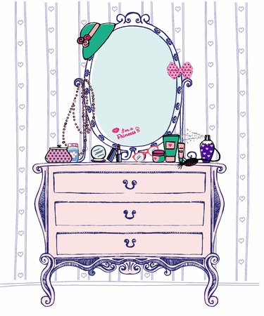Vector illustration of society ladys boudoir with console mirror and a lot of womens accessories: cosmetics, jewelry and others things.  Hand drawn pier glass for young girl. Sketch chest of drawers Ilustração