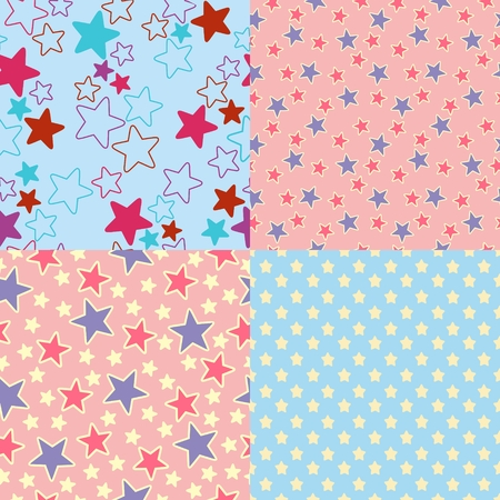 Vector Set of four seamless abstract textures with stars Imagens - 120432442