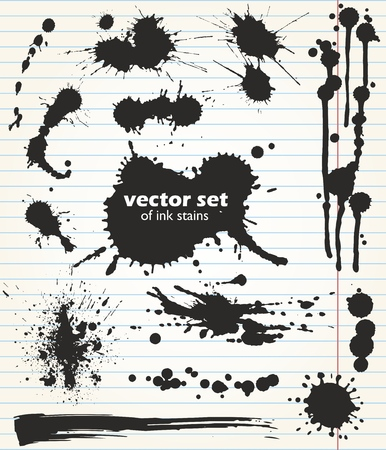 Vector template. Paint spots of different size and shape. Useful set of black ink stains. Collection of grungy design elements on the background of notebook sheet.