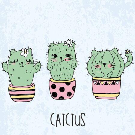 set cute kawaii cat cactus in a flowerpot Illustration