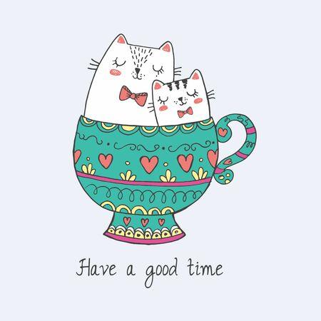 cute kawaii cats in beauty cup of tea Ilustracja