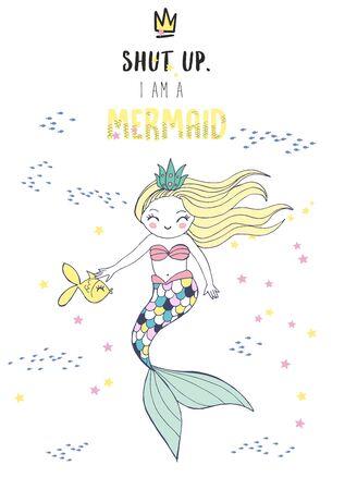 cute kawaii mermaid touch a fish Illustration