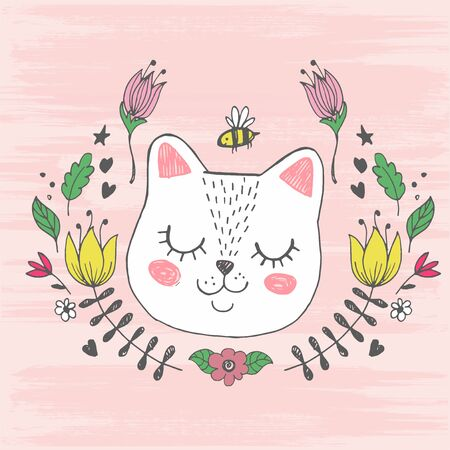 Cute kawaii cat face with bee, flowers.
