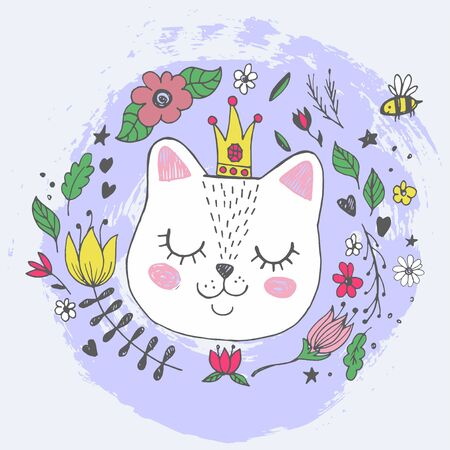 Cute kawaii cat face with glittering crown, flowers. Hand drawing vector illustration