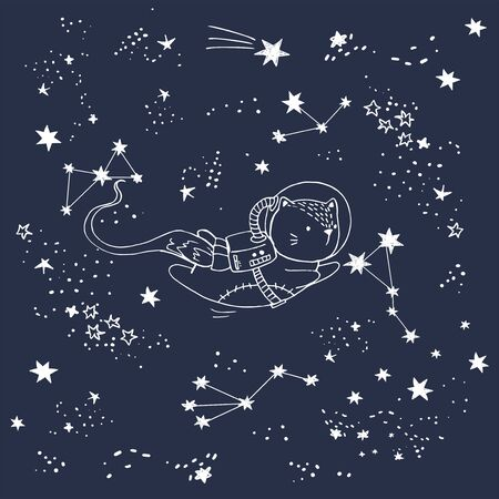 Cat in space with constellations shooting stars Ilustracja