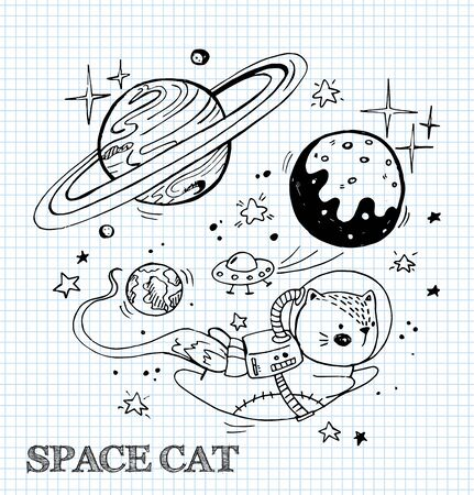 Vector illustration with a funny cat in a spacesuit. Cat astronaut soaring in space. Comic style illustration.