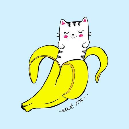 Cute vector illustration. Kawaii banana cat on blue background. Funny cat, yellow fruit sticker, print shirt, stylish Ilustracja
