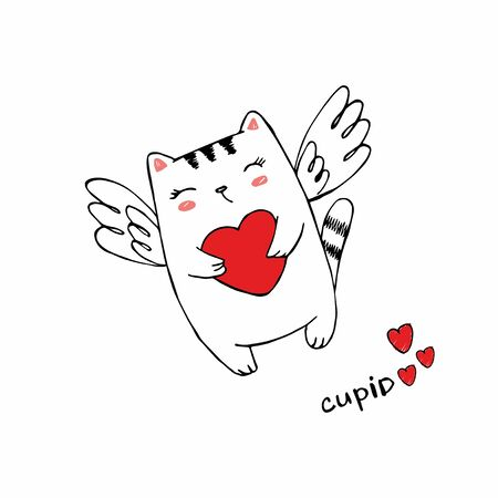 Funny little cat cupid with heart. Illustration of a Valentines Day. Cat angel with wings. Vector illustration in a cartoon style. Isolated on white background