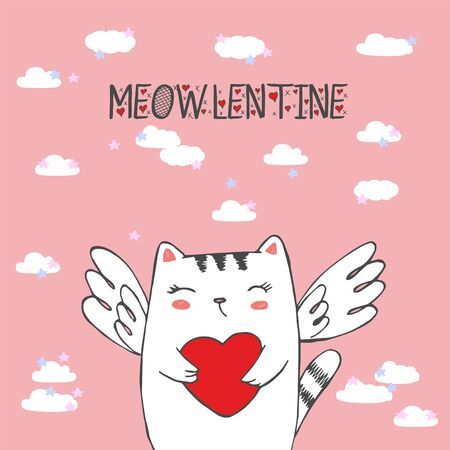 Funny little cat cupid with heart. Illustration of a Valentines Day. Cat angel. Vector illustration in a cartoon style. Isolated on pink background Illustration