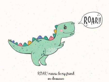 Illustration of cartoon hand drawn sketch dinosaur. Cool kids dinosaur for nursery t-shirt, kids apparel, invitation, simple scandinavian child design.