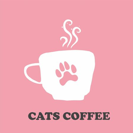 Coffee Tea Hot Cat Logo Design